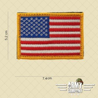 Embleem stof vlag USA gele rand met klitteband