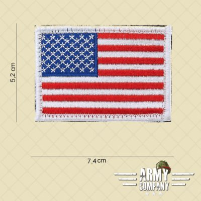 Embleem stof vlag USA witte rand met klitteband